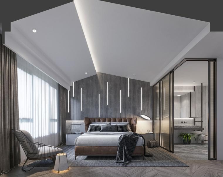 Stanza da letto con soffitto in pendenza, pannello in legno sulla parete, camere da letto moderne bianche