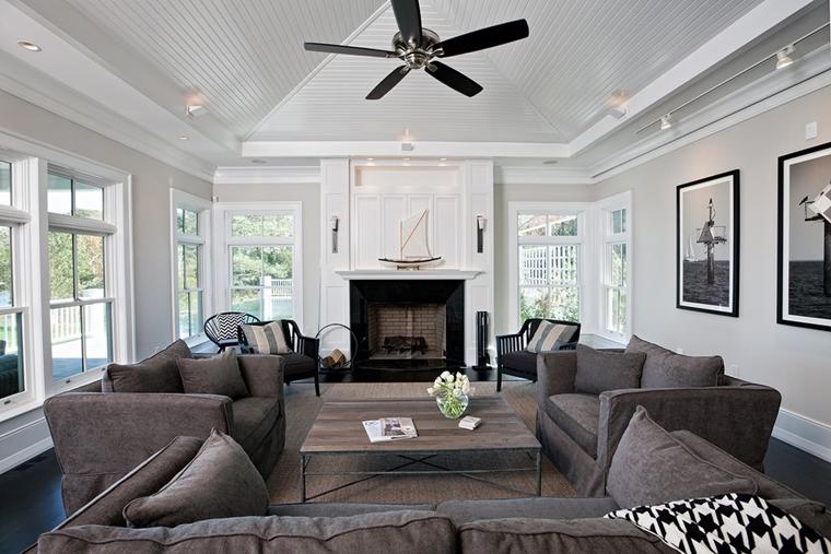 soggiorno contemporaneo colore bianco nero divano grigio
