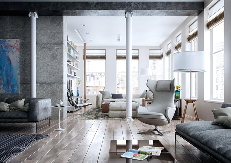 soggiorno contemporaneo luminoso stile minimal