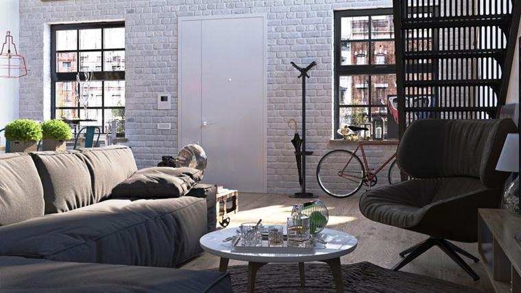 soggiorno contemporaneo stile industriale parere muratura