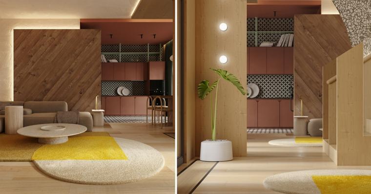 Open space con soggiorno e cucina, parete divisoria in legno, tavolino basso rotondo
