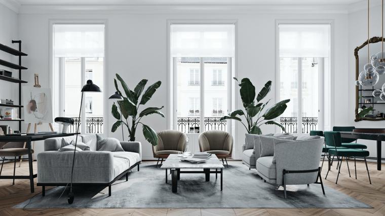 Sala da pranzo e soggiorno, due divani e un tavolino basso, pareti soggiorno bianche