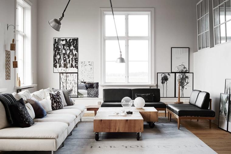 soggiorno industriale tavolini fai te lampade sospensione