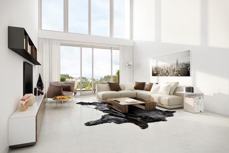 soggiorno mnimal tavolino basso cuscini divano