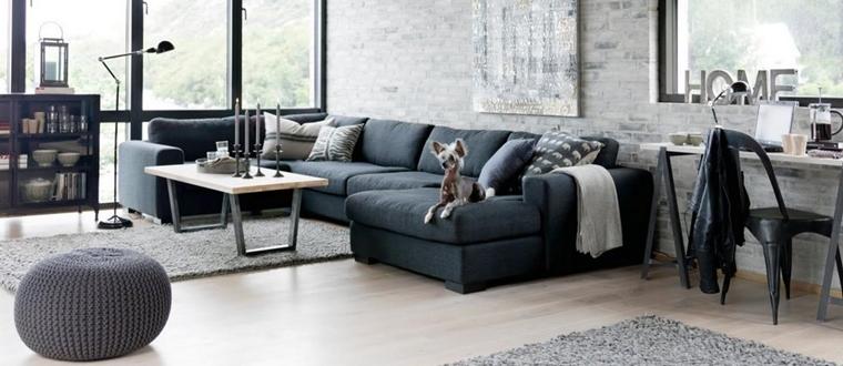 soggiorno moderno stile industrial nero grigio