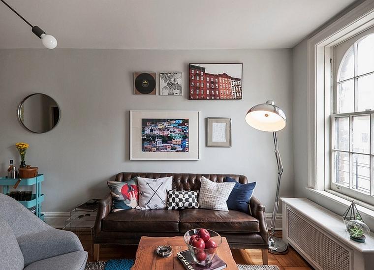 soggiorno moderno stile industriale lampada stelo