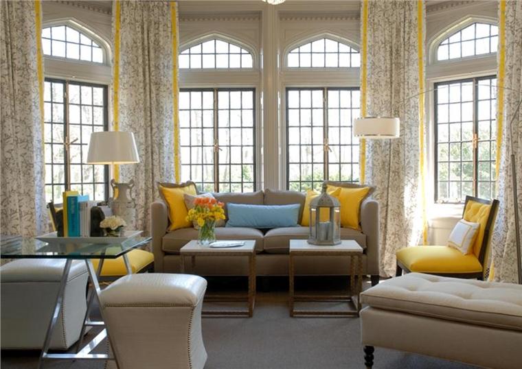 soggiorno moderno stile retrò motivi giallo
