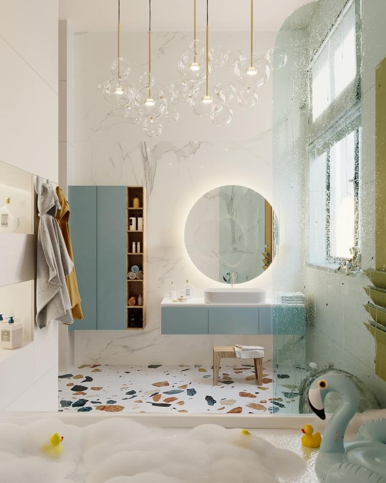 Mobile per il bagno di colore blu, specchio rotondo con illuminazione, mobile per lavabo da appoggio