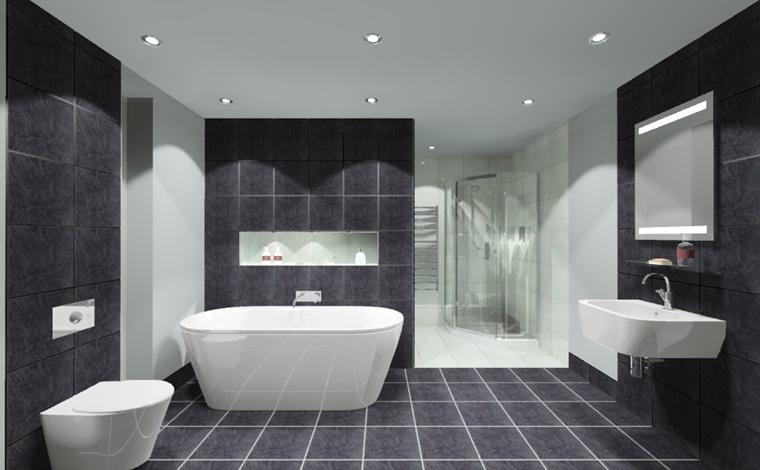 stanza da bagno bianco nero illuminazione led