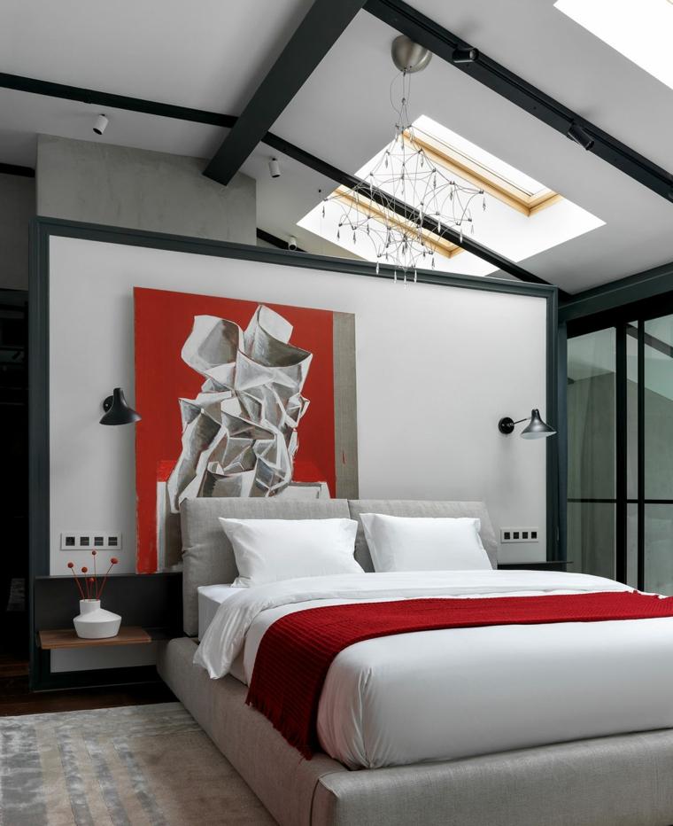 Stanze da letto moderne per ragazze, quadro disegno astratto, soffitto in pendenza, zona notte in mansarda