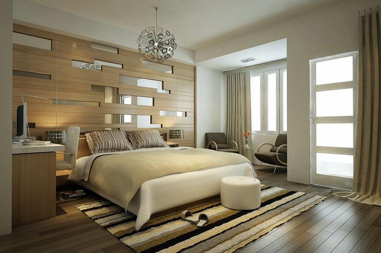 stanza letto bianco beige lampadario sospensione
