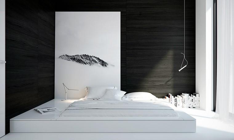 stanza letto minimalista bianco nero