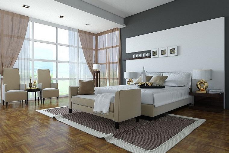 stanza matrimoniale colori neutri stile moderno