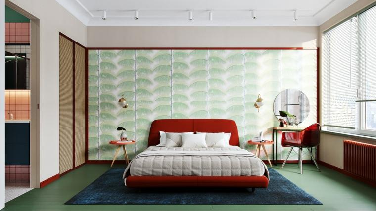 Pannello colorato per parete, letto di colore rosso, pavimento colore verde, tappeto pelo lungo