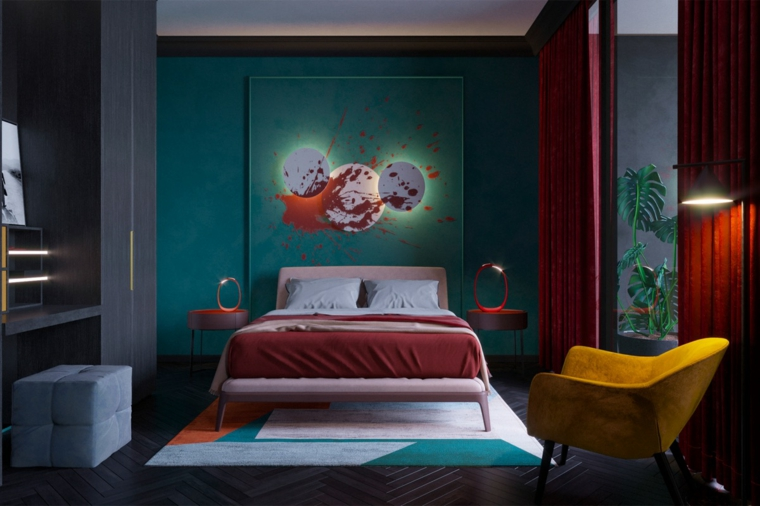 Camera da letto con pareti verdi, decorazione pareti con quadro, pavimento in legno