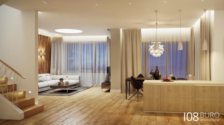 Stile moderno di buro 108 idee per la casa di legno for Arredamento soggiorno moderno in legno