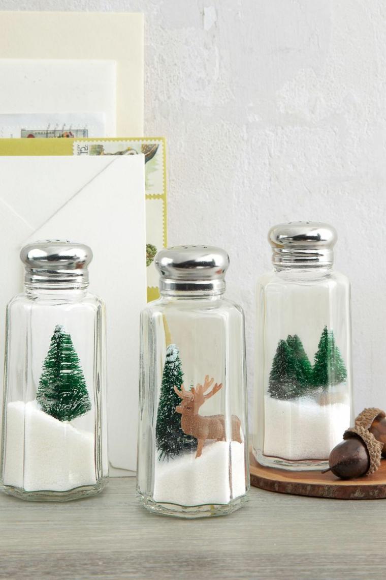 Contenitore per il sale con mini alberello, decorazioni di Natale per la cucina, tagliere di legno