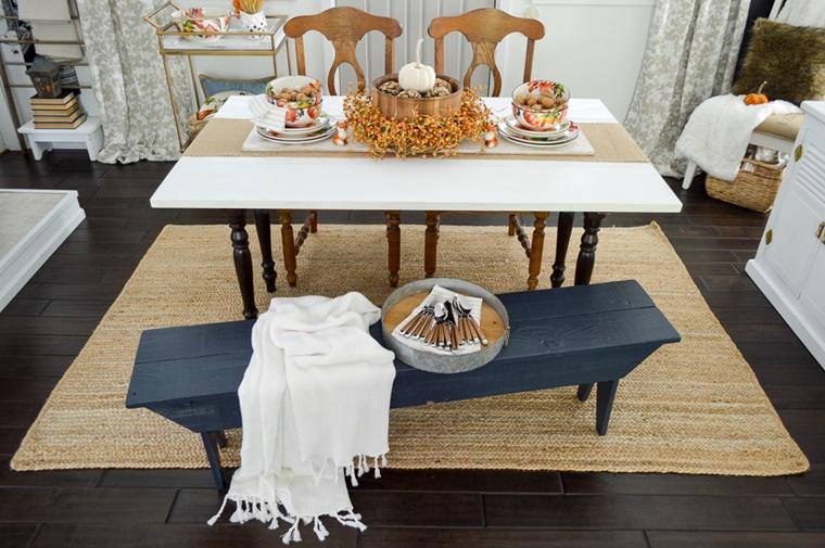 tavolo da pranzo decorato addobbi autunnali
