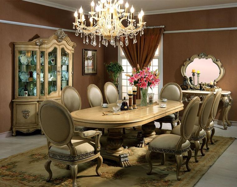 tavolo pranzo grande stile classico lampadario sospeso