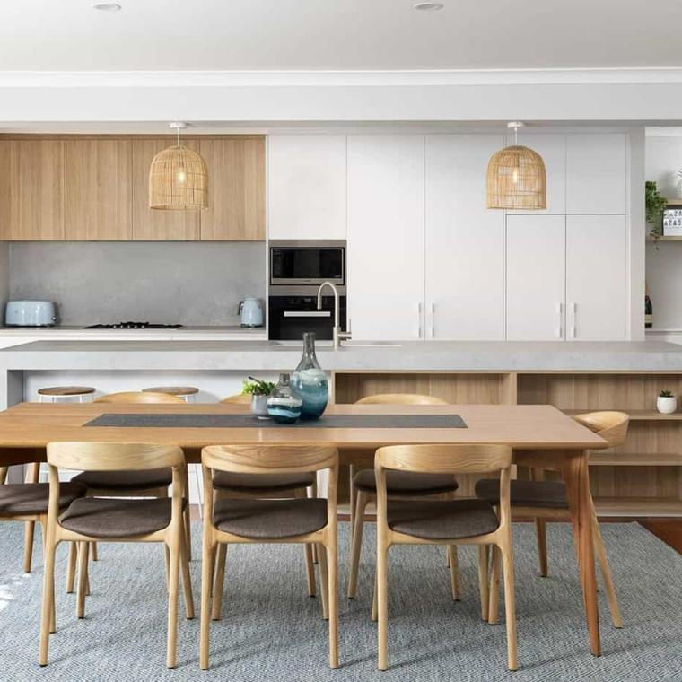 tavolo rettangolare di legno con sedie abbinate come arredare un salotto con sala da pranzo