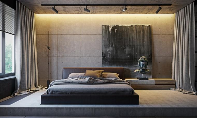 Stanze da letto moderne per ragazze, pareti di colore grigio, quadro disegno astratto, faretti sul soffitto