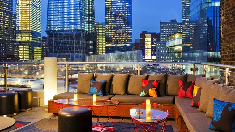 terrazza moderna tetto edificio ringhiere vetro