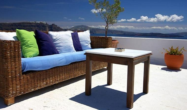 terrazzi moderni grandi divano vimini tavolo legno
