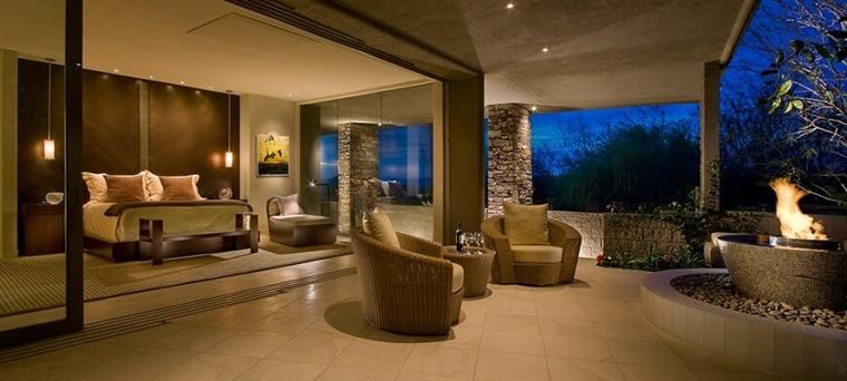 terrazzi moderni pavimento piastrellato sedute vimini