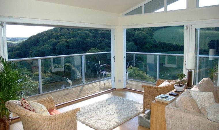 terrazzo moderno pavimento laminato ringhiere vetro