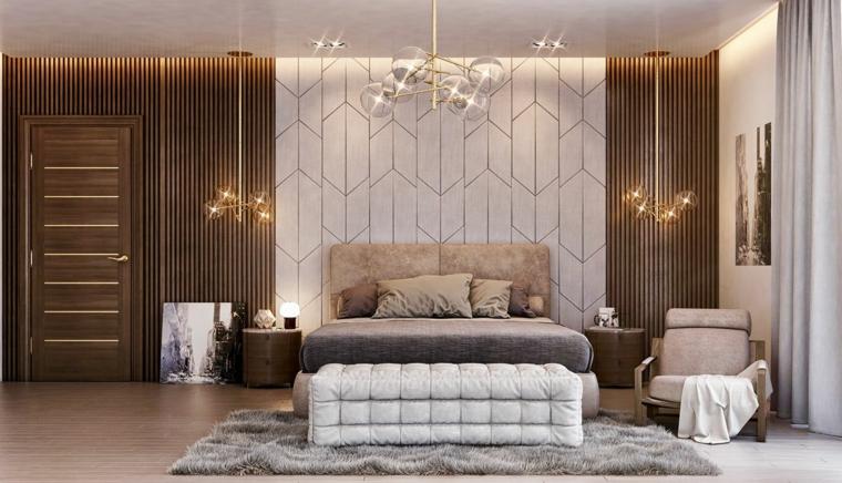 Progettare camera da letto, parete con pannelli in legno, lampadario sfere di vetro, tappeto peloso colore grigio