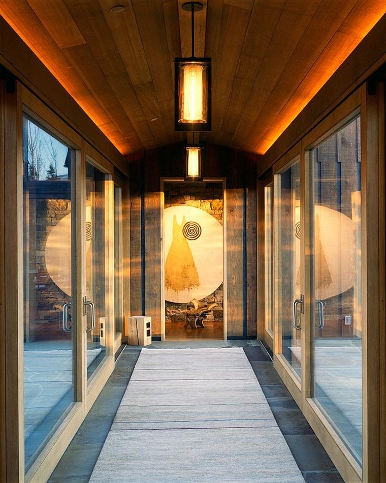 tetto legno lanterne sospese moderne