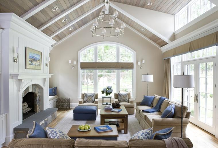 tetto legno soggiorno colori blu beige bianco