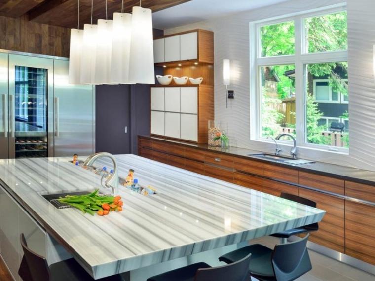 top cucina marmo lampade sospensione