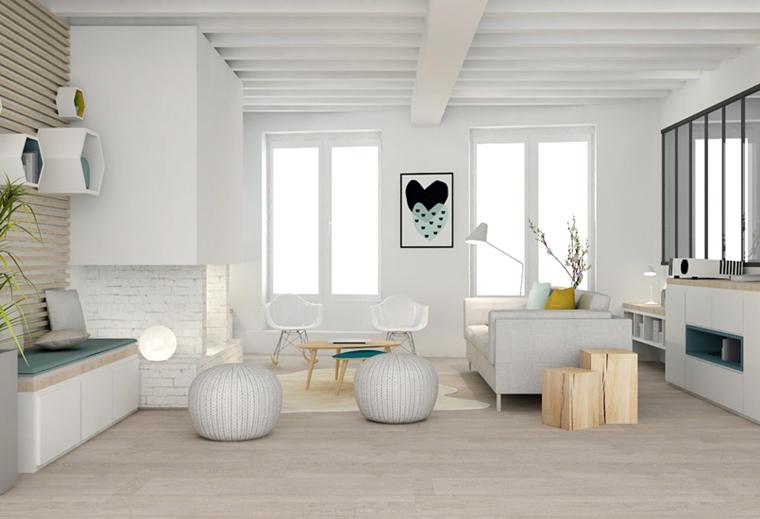 travi in legno bianche appartamento stile minimalista