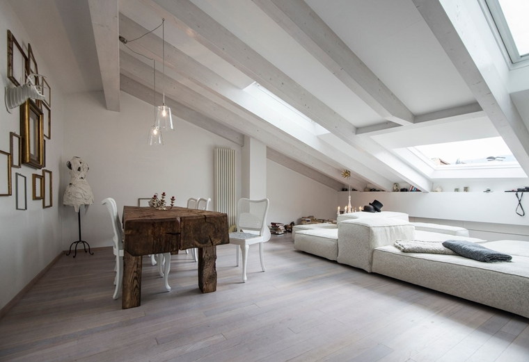 Travi in legno bianche esempi spettacolari e moderni for Soffitto travi a vista bianco