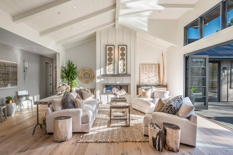 travi in legno bianche soggiorno stile farmhouse