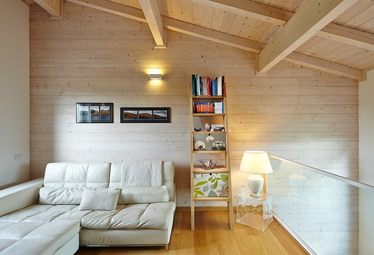 travi in legno soggiorno design moderno