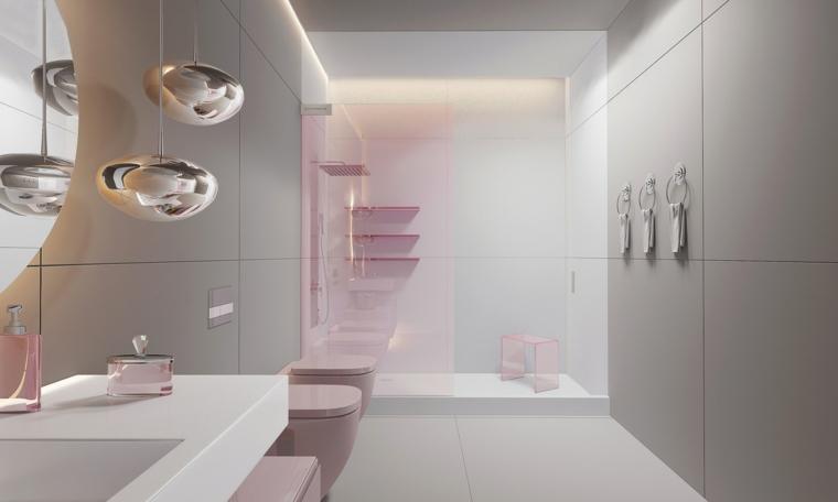 Arredamento bagno di colore rosa, piastrelle di colore bianco, sala da bagno con box doccia