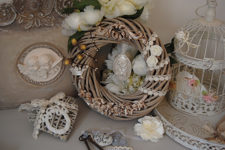 vari accessori stile shabby decorare giorno natale