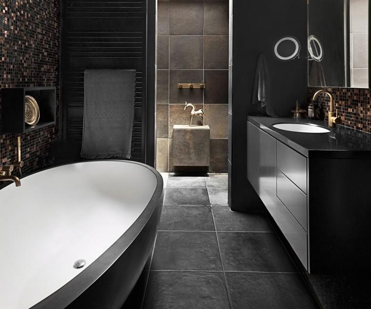 vasca da bagno forma ovale mobile sospeso nero