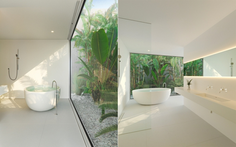 Mobile bagno con doppio lavabo, sala da bagno con vasca, bagno con vista sul giardino