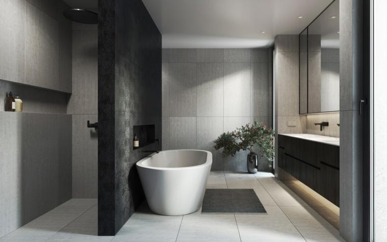 Sala da bagno con box doccia e vasca, mobile bagno con doppio lavabo, piastrelle bagno colore grigio