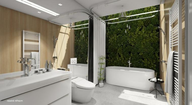 Bagno con giardino verticale, bagno con pavimenti grigio, parete bagno con specchio