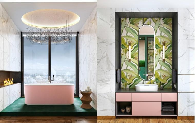 Vasca da bagno rosa, mobile con cassetti da bagno, lavabo da appoggio, piastrelle floreali