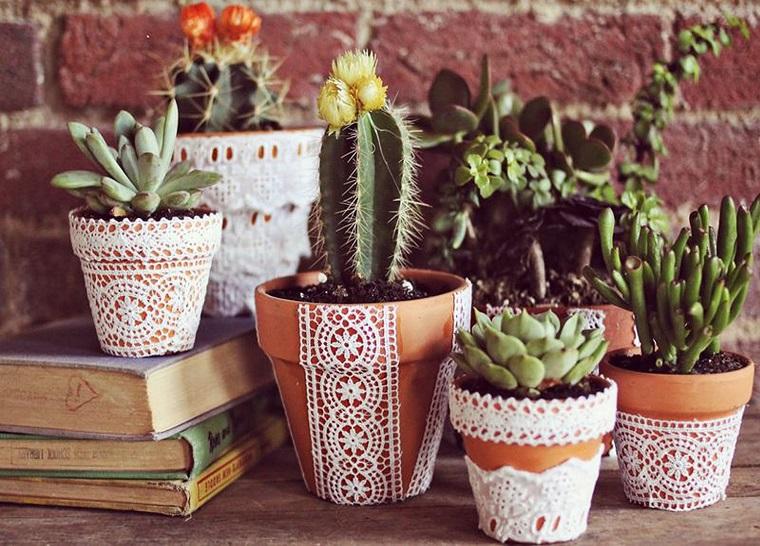 vasi terracotta cactus decorati centrini