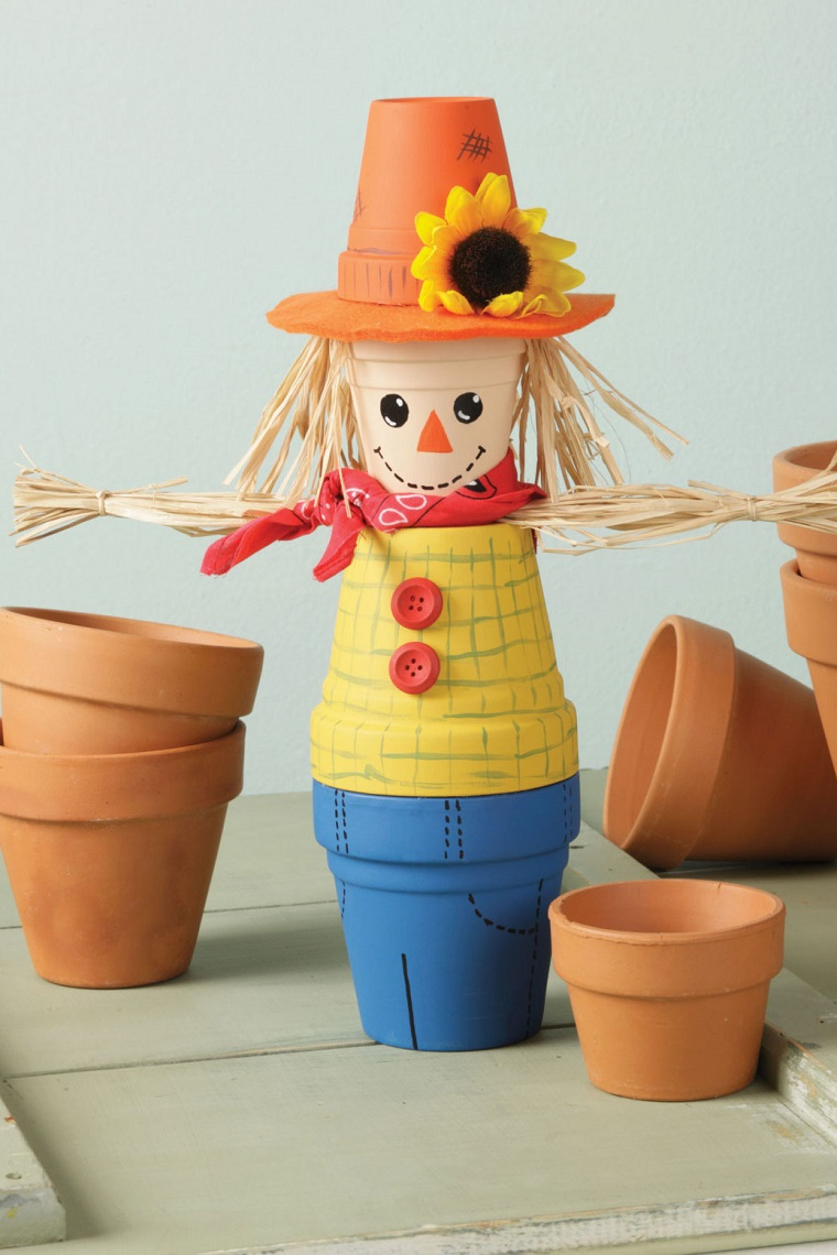 vasi terracotta idea spaventapasseri colorato