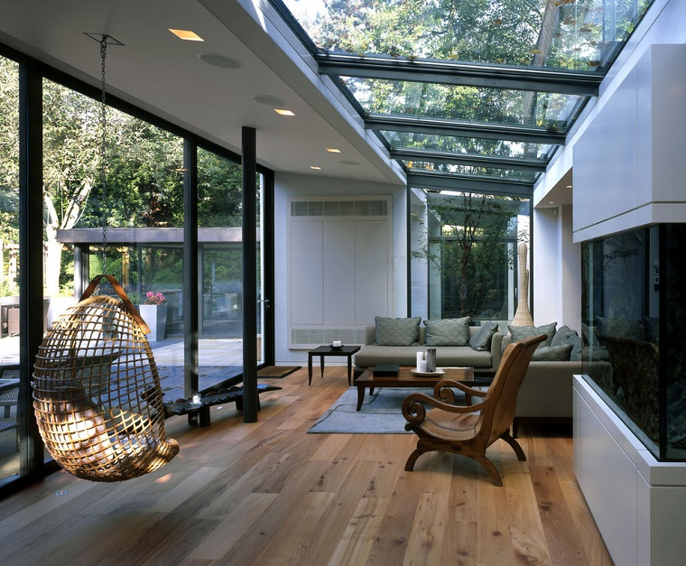 verande moderne pavimento parquet dettagli neri