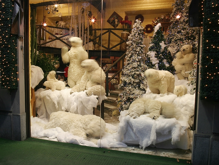 vetrine natalizie orsacchiotti peluche bianchi