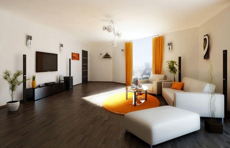 zona living moderna motivi arancioni