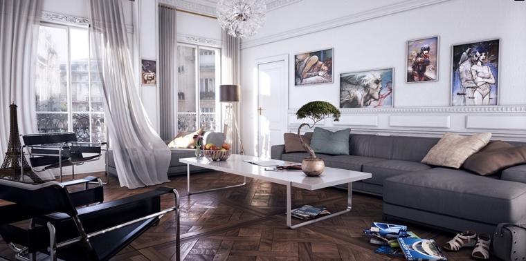 zona living moderna quadri stravaganti pareti divano grigio
